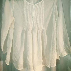 Sheer Long-Sleeved Angel White Polka Dot Blouse
